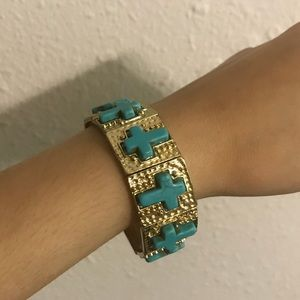 Gold and turquoise cross bracelet